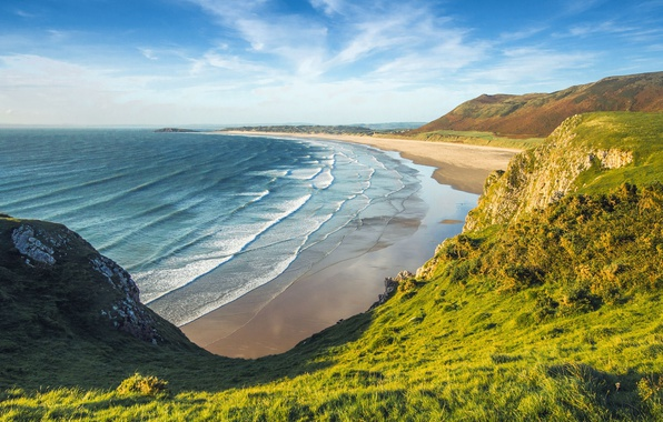 Picture sea, greens, beach, the sky, grass, the sun, clouds, mountains, rocks, coast, England, Wales