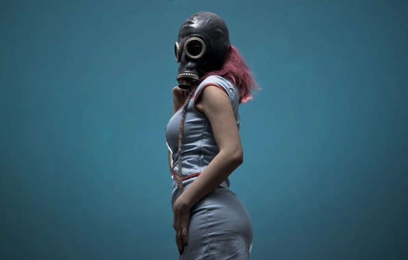 Picture girl, background, gas mask