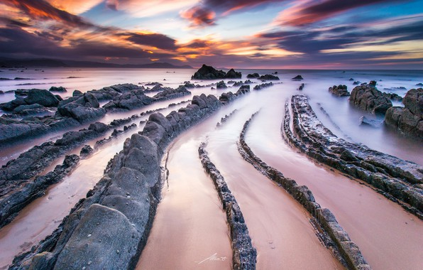 Picture sand, beach, clouds, rocks, Spain