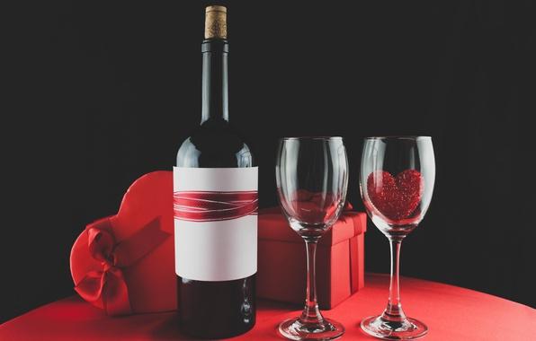Picture wine, glasses, red, love, romantic, hearts, valentine's day, gift