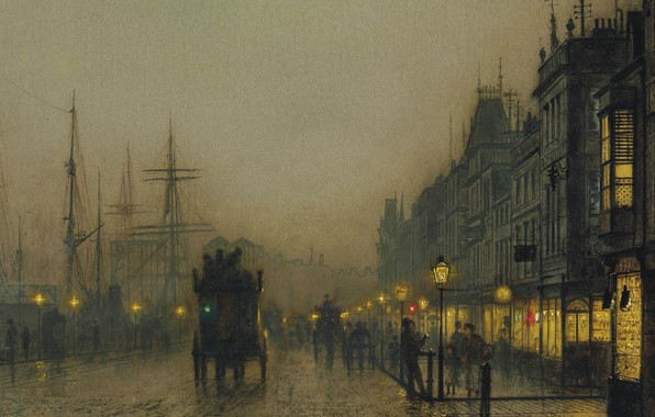 Picture night, lights, picture, the urban landscape, John Atkinson Grimshaw, John Atkinson Grimshaw, Reekie. Glasgow