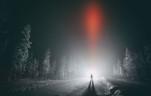 Picture winter, road, forest, the sky, night, people, Finland, Finland, Lapland, Lapland, mystic light
