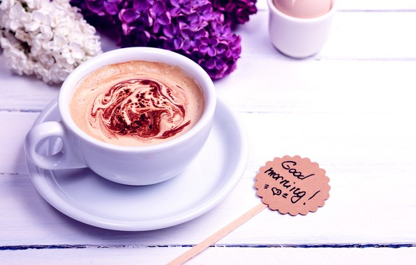 Picture flowers, coffee, morning, Cup, flowers, cup, Good Morning, coffee, lilac