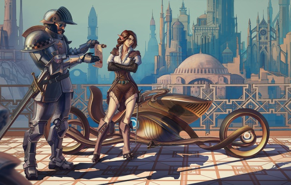 Photo wallpaper road, girl, the city, fantasy, elf, police, art, knight, cart, detention, police, korolestva