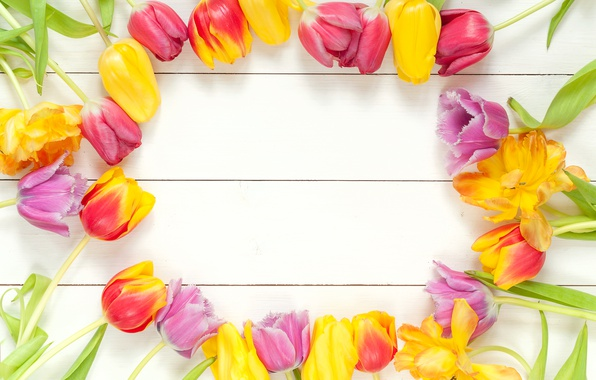 Picture flowers, bouquet, spring, frame, colorful, tulips, fresh, wood, flowers, beautiful, tulips, spring, bright