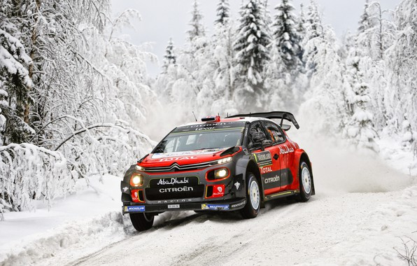 Photo wallpaper Winter, Auto, Snow, Forest, Sport, Machine, Race, Citroen, Citroen, Car, WRC, Rally, Rally, Kris Meeke, ...
