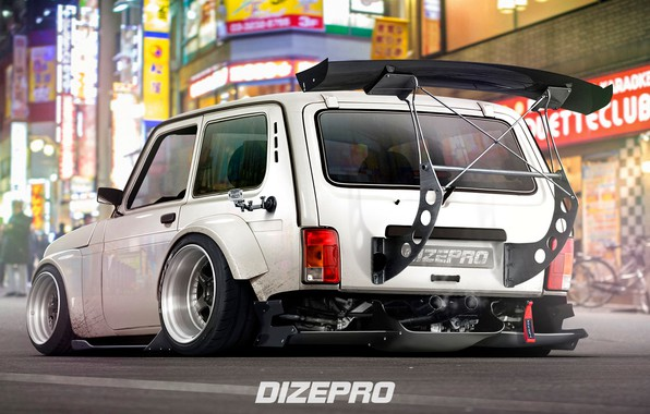 Picture Auto, The city, Tuning, Car, Car, Auto, Tuning, Niva, Niva, Spoiler, Signs, DizePro