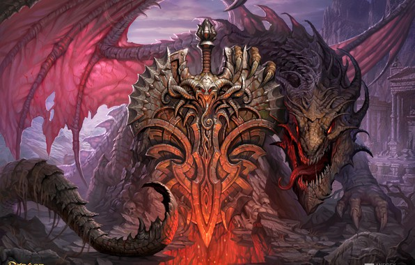 Picture dragon, art, coat of arms, Dragon Eternity, Andrew Kosinski, Dragons Of Eternity