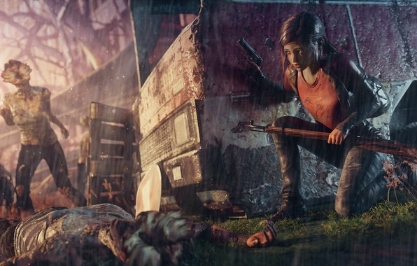 Picture girl, weapons, fear, the game, zombies, girl, girl, game, Ellie, the last of us, ellie