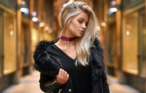 Picture pose, glare, background, portrait, makeup, dress, jacket, hairstyle, blonde, beauty, in black, bokeh, Vanessa, Alex …