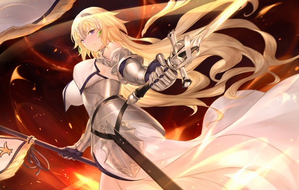 Picture girl, Flag, Sword, Fate / Grand Order
