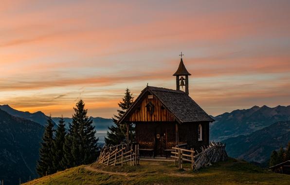 Picture mountains, Austria, Alps, Church, Church