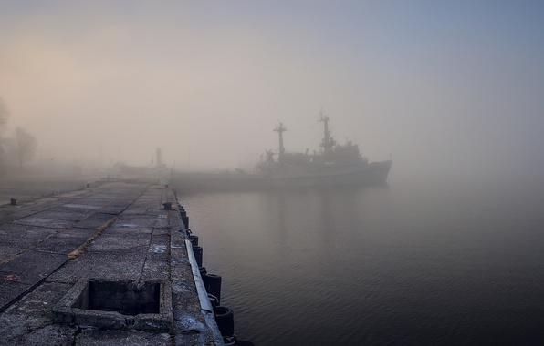 Picture fog, ship, Marina