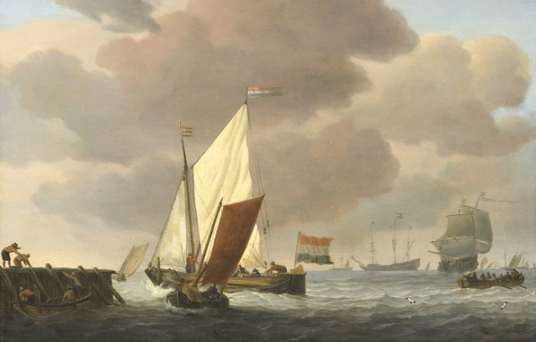 Picture tree, oil, picture, sail, seascape, Willem van de Velde the Younger, Boats at the Shore. …