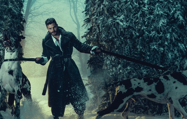 Photo wallpaper forest, photoshoot, leashes, 2016, Jamie Dornan, L'uomo Vogue, actor, Jamie Dornan, trees, winter, dogs, snow, ...