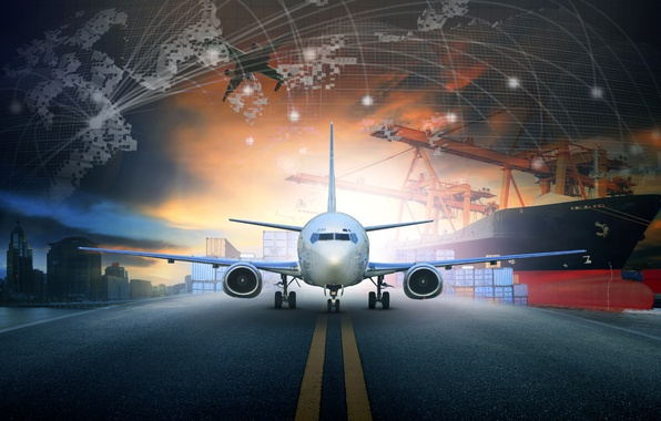 Picture night, the city, the plane, ship, port, runway, render, passenger, cranes, container