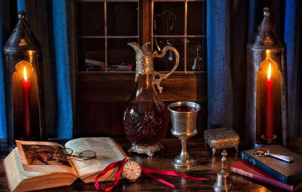 Picture style, wine, watch, glass, books, candles, glasses, bell, decanter