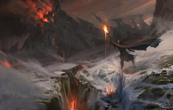 wallpaper fire flame fantasy magic art mountain snow lava