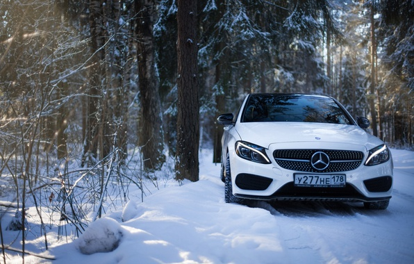Photo wallpaper winter, amg, mercedes amg, Mercedes Benz, smoke bomb, saint-petersburg, c450, mercedes c450 amg, mercedes c, ...