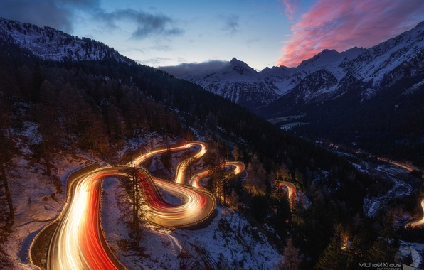 Picture winter, road, the sky, snow, mountains, night, lights, the evening, excerpt