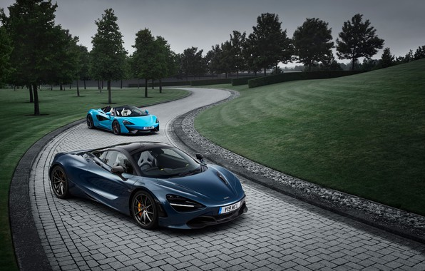 Picture car, McLaren, logo, vegetation, McLaren 720S, McLaren 570S Spider