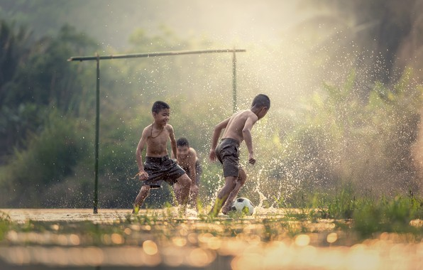 Picture The game, The ball, Sport, Children, Gate, Football, Mood