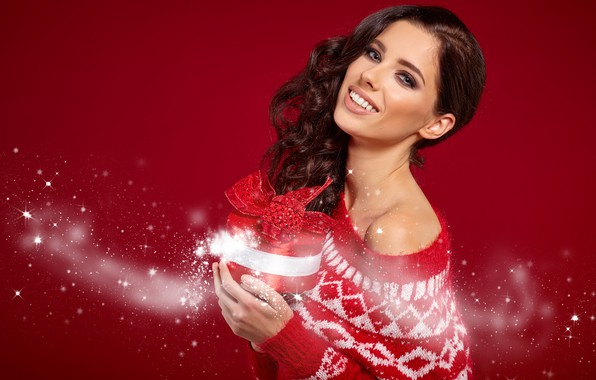 Picture girl, smile, holiday, gift, model, new year, makeup, brown hair, Izabela Magician