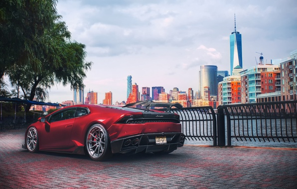 Picture Lamborghini, light, red, New York, New Jersey, Huracan