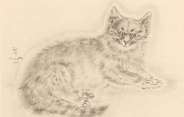 Picture look, legs, tail, fluffy, 1929, Tsuguharu Foujita, The Book Of Cats