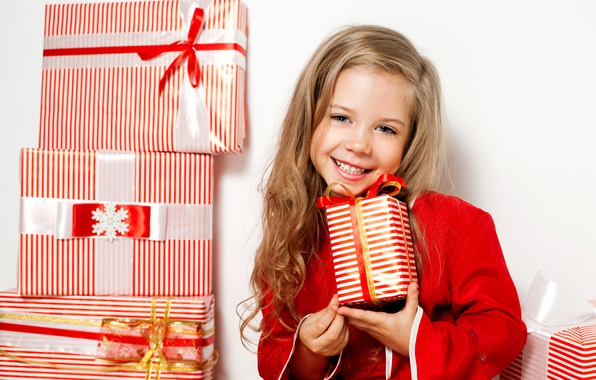 Picture face, smile, red, child, girl, gifts, New year, bow, New Year, child, gifts