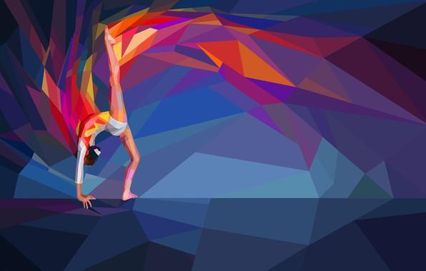 Picture gymnastics, athlete, gymnast, low poly