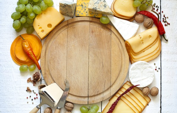 Picture food, grapes, pepper, nuts, wood, cutting, cuts, cutting Board, cheese products, cheese
