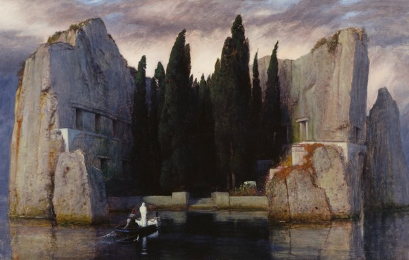 Photo wallpaper trees, stones, boat, 1883, Symbolism, Arnold .. .. , Isle of the dead