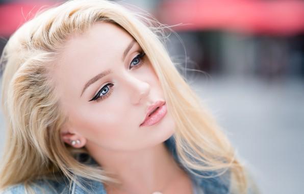 Picture girl, Model, long hair, photo, blue eyes, lips, face, blonde, Lauren, portrait, mouth, makeup, close …