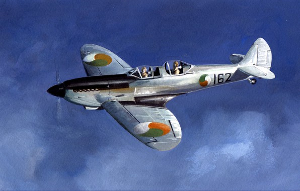 Picture the sky, figure, fighter, art, the second world, pilots, British, Spitfire