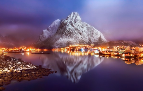 Picture winter, light, reflection, mountains, lights, fog, rocks, the evening, morning, Norway, haze, town, the village, …