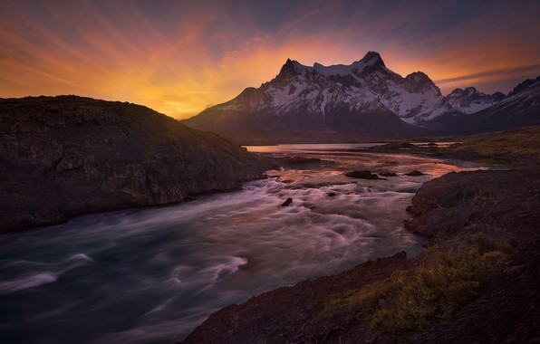 Picture sunset, mountains, river, Chile, Chile, Patagonia, Patagonia, Paine River, River Pine