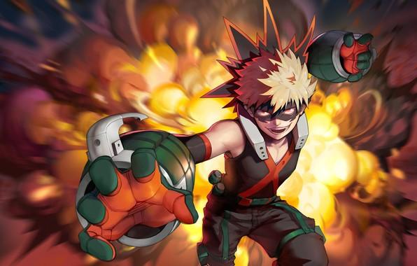 Wallpaper fire, flame, power, guy, My hero Academy, fad