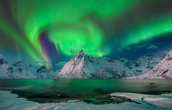 Picture winter, the sky, snow, mountains, night, Northern lights, Norway, North