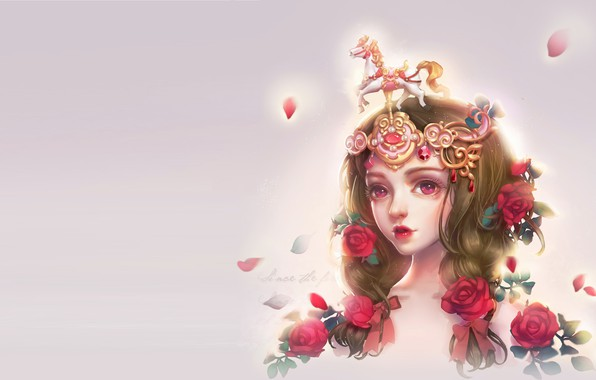 Picture girl, flowers, rose, anime, art, Collection, milkyu dong