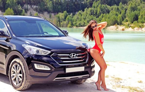 Picture Hyundai, Black, Santa, Santa Fe