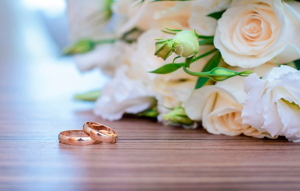 Picture flowers, roses, bouquet, ring, white, wedding, bokeh