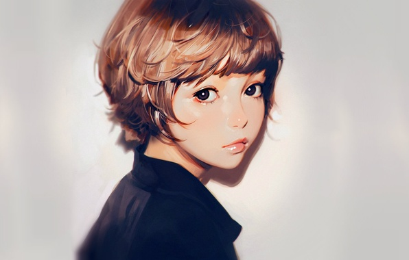Picture face, haircut, portrait, girl, grey background, bangs, Ilya Kuvshinov, half a turn