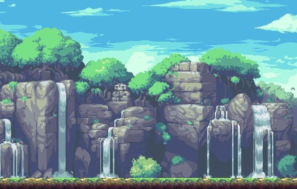 Picture Mountains, Rock, Graphics, Pixels, 8bit, 16bit, PXL