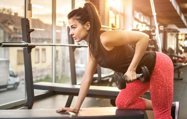 Picture pose, female, workout, fitness, gym, exercises, Dumbbell