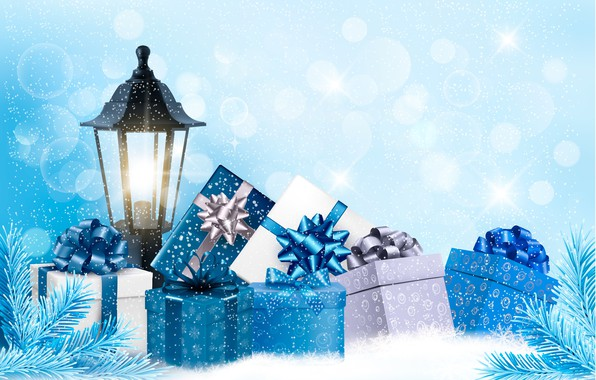 Picture snow, holiday, new year, lantern, gifts
