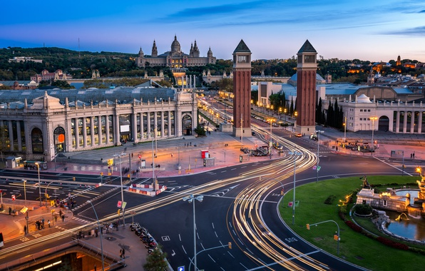 Picture road, tower, architecture, Spain, Barcelona