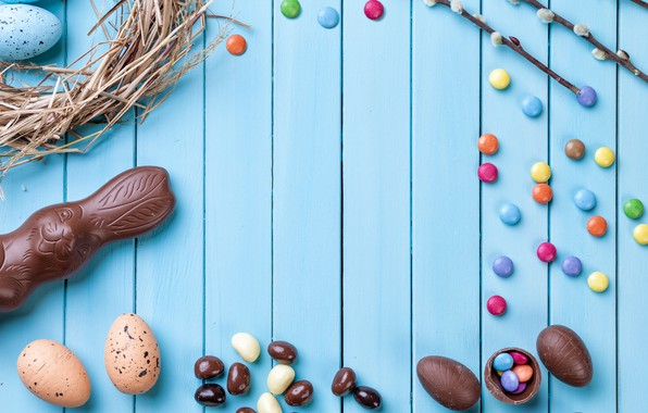 Picture chocolate, eggs, colorful, rabbit, candy, Easter, wood, Verba, chocolate, spring, Easter, eggs, bunny, candy, decoration, …