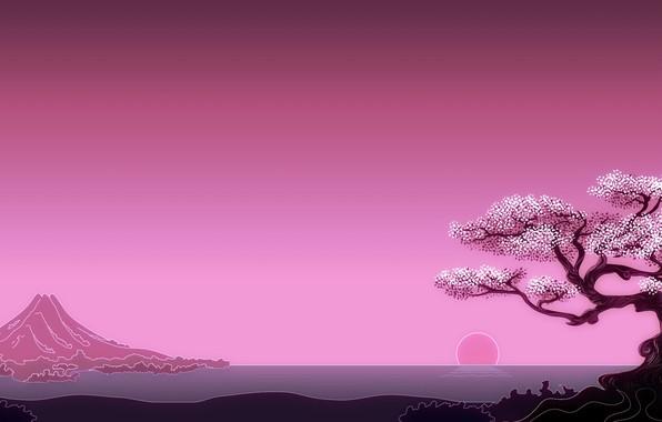 Picture Japan, sea, minimalism, art, mountain, tree, sun, digital art, artwork, simple background, oriental art
