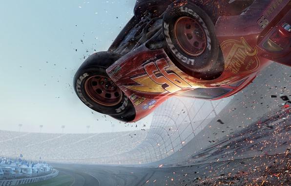 Picture cartoon, cars, animation, track, cars, stadium, animation, 8k, cars 3, cars 3